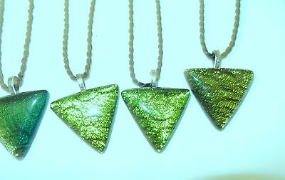35x25mm dichroic glass pendant handmade (green triangle) cord necklace free post