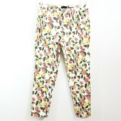 Charter Club Womens Skinny Ankle Pants Size 14 Green Yellow White Floral