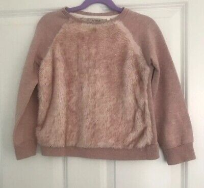 Next Girls Pink Faux Fur Fluffy Jumper  Sweatshirt Age 8 Years Vgc