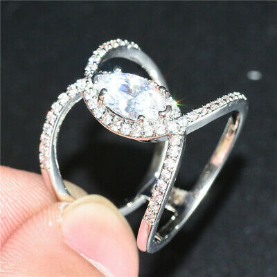Fashion Silver Rings Marquise Cut White Sapphire Wedding Engagement Ring Size 6