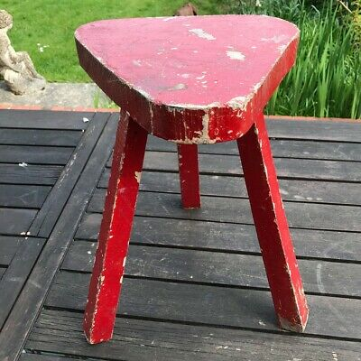 Rustic little French Wooden Chippy Painted Industrial Cutlers Stool