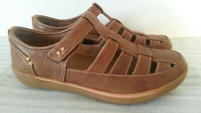 Clarks Un Haven Cove Womens Dark Tan Leather Casual Shoes Sandals Uk Size 5