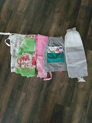 5 Vintage Apron Lot Pink Floral Hankie Christmas Gray Sheer Black/White Check