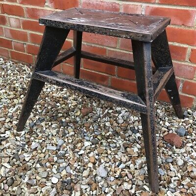 Fabulous stylish French Painted industrial Pine Stool c/w original chippy paint