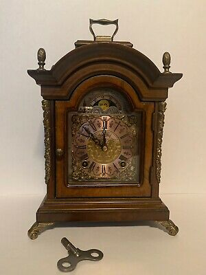 Antique WARMINK WUBA Mantel Shelf Oak Dutch Clock Moonphase 2 Bells