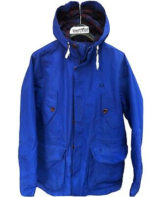 Mens Fred Perry Classic Hooded Mountain Nylon Parka Jacket Mod Scooter Size M