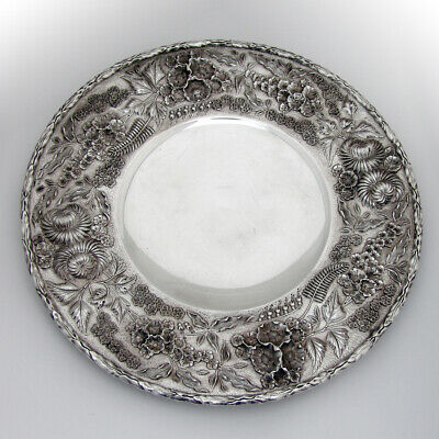 Repousse Footed Cake Plate Foliate Rim Kirk Son Sterling Silver 1920 Mono