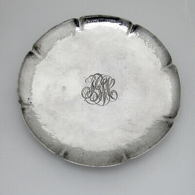 Arts And Crafts Hammered Footed Plate Whiting Sterling Silver 1913 FGW