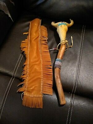 **Awesome Vintage Native American Hand Made  Shaman  Rattle With Case Super!**