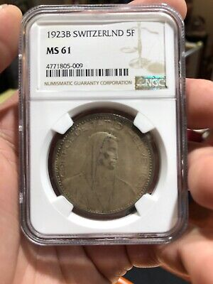 1923 B Switzerland 5F Silver MS61 NGC Certified Coin