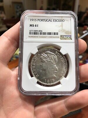 1915 Silver Portugal Escudo MS 61 NGC Certified Coin