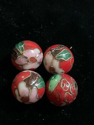 2 Red Cloisonne Snowflake Centerpiece 30x27x4mm Beads 8638E