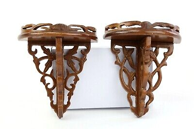 Vintage Mid Century Sconce Shelf Wooden Knick Knack Curio Wall Hanging Display 2