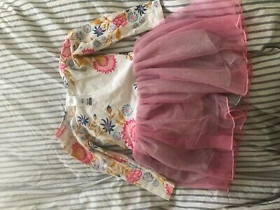 bonds girls long sleeve tutu dress great used condition size 3 white floral pink