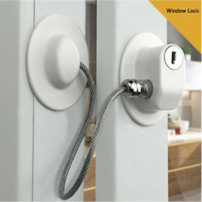 White Window Door Cable Restrictor Ventilator Child Safety Security Lock Q