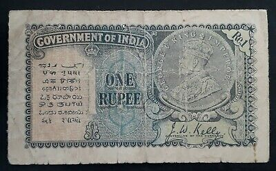RARE 1935 Government of India One Rupee Banknote P 14a VG
