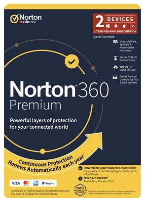 Norton 360 Premium 100GB 2 Devices 1 Year