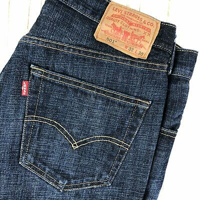 Dark Wash Classic Mens Levis 501 Button Fly Jeans -Size 33/30