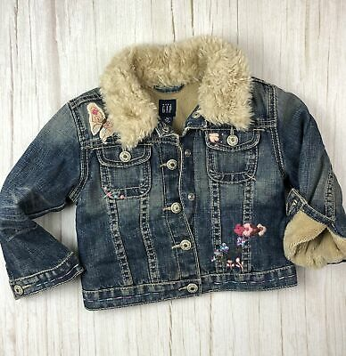 Gap Girls Fleece Lined Sherpa Collar Denim Jacket - Size 2/3