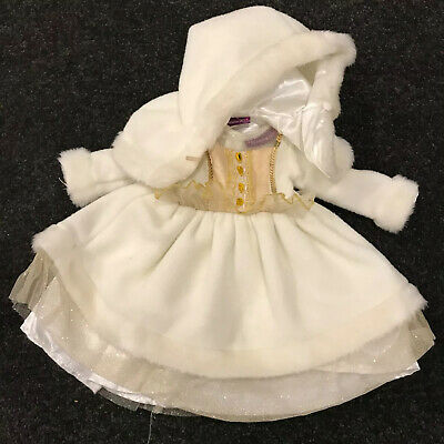 My London Girl outfit (cream and gold dress, with furry hooded cape) - HTF