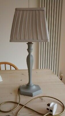 Vintage French grey Art Deco wooden painted lamp base with pretty square shade