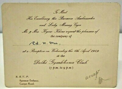 Invitation Burmese Embassy Meet Ambassador Burma New Delhi Gymkhana Club 1949