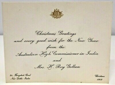 Vintage Christmas Card From Australian High Commissioner India Roy Gollan 1949