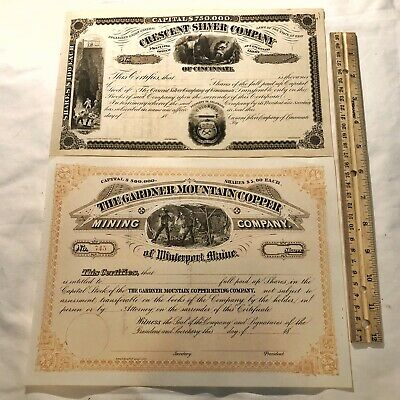 2 Authentic Antique Stock Certificates - Ca 1870-1880's - Silver & Copper Mining