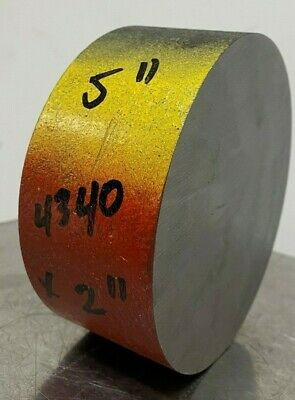 """4340 Hot Rolled Steel Round Bar Stock 5"""" Diameter Annealed - x 2 in Long"""