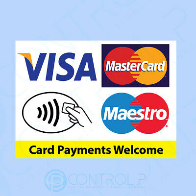 Contactless Card Payments Sticker - VISA MASTERCARD MAESTRO - Credit Card, Shop