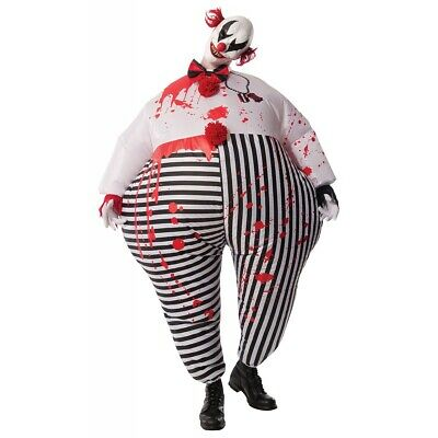 Scary Clown Costume Adult Evil Inflatable Halloween Fancy Dress