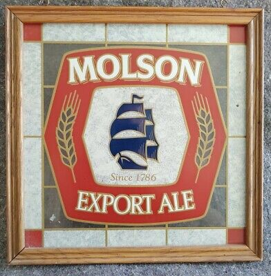 """VINTAGE MOLSON EXPORT ALE SINCE 1786 framed faux stained glass beer sign 16""""x16"""""""