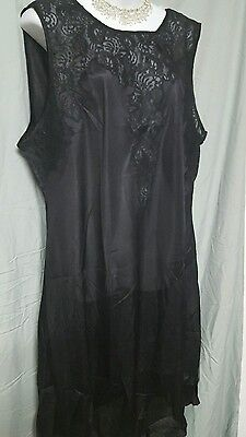"""VENTURA  BLACK Nightgown WITH LACE Sexy Long Sleeveless Plus Size 5X 62"""" BUST"""