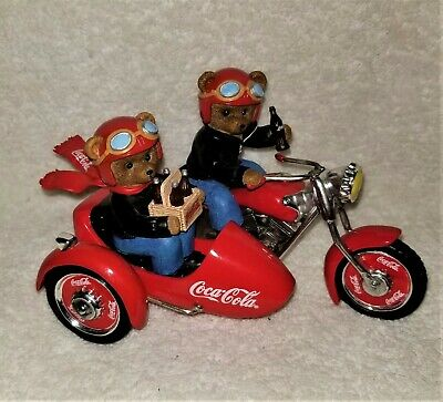 On the Go With Coca Cola Collection Motorcycle with Bears Collectible #0501