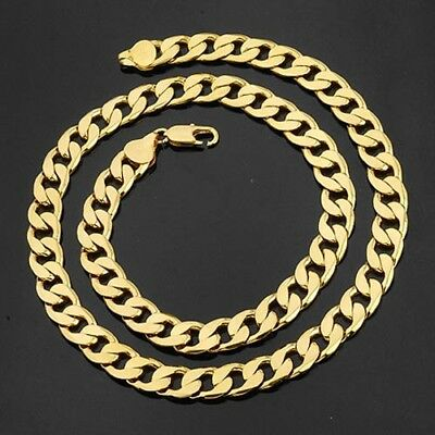 """Men's Necklace 18k Yellow Gold Filled 12MM Curb Chain 24""""Link Fashion Jewelry"""