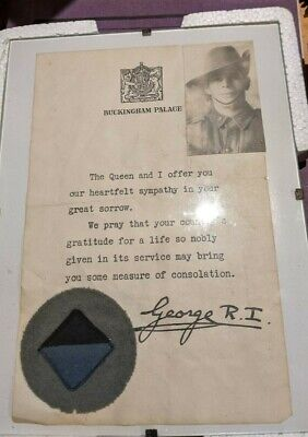 WW2 Australian personal effects bag and letter, photo, & colour patch, 2/25 Bn