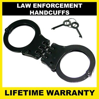 POLICE Handcuffs Professional Heavy Duty Metal Steel Hinged Double Lock - BLACK