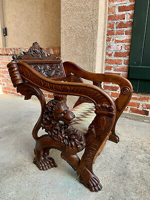 Antique French Carved Oak Cathedral Altar CHAIR Gothic Prayer Lion Renaissance