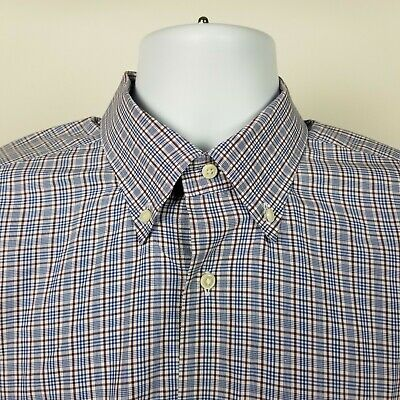 Neiman Marcus Mens Blue Burgundy Red Check Dress Button Shirt Large Italy Made