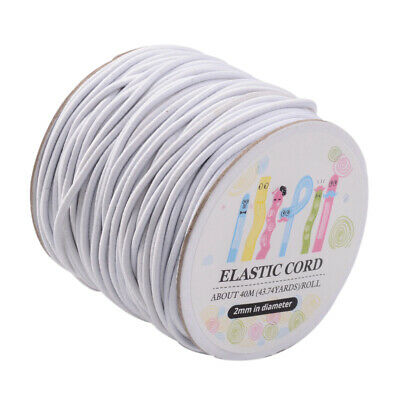 40m/roll Round Elastic Cord 2mm with Nylon Outside and Rubber Inside Black White