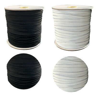 Flat Elastic 7mm Wide Bungee Rope Shock String Stretchable Cord Band Black White