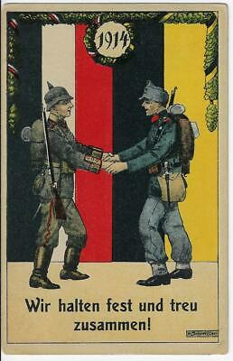 1914 WWI German - Austria Unity Patriotic Postcard Sold for Benefit of Soldiers