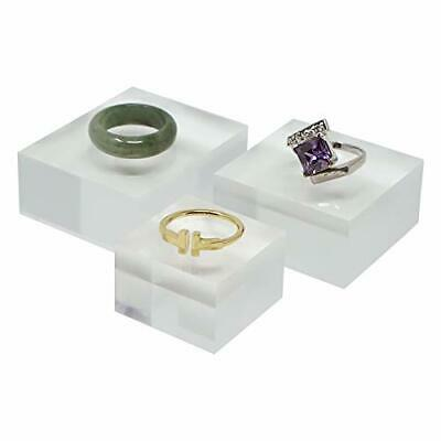 """Crystal Clear Solid Acrylic Cube Jewelry Riser Display Stands - 2"""", 1.6"""", 1.2"""""""