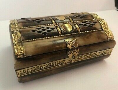 Vintage   Bone and Brass Jewelry Trinket Box blue Velvet Lined