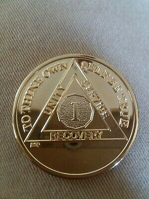 1 YEAR AA Merlin GOLD Plated Alcoholics Anonymous CHIP COIN MEDALLION