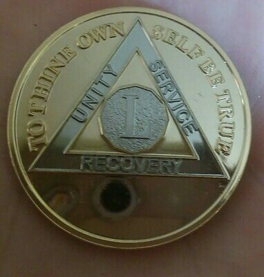 50 YEAR AA GOLD/SILVER Bi-Plated Alcoholics Anonymous CHIP COIN MEDALLION L