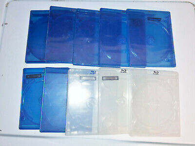 (10) BD Blu-Ray DVD Empty Cases Blue Clear Triple Disc 12mm 14mm 3 Discs