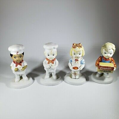 Vintage Campbell's Soup Kids Porcelain Boy and Girl  and 2 Chefs  1993