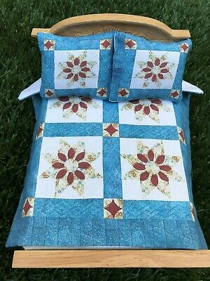 Miniature dollhouse Bedspread Comforter blanket with 2 Pillows 1:12 scale #C31