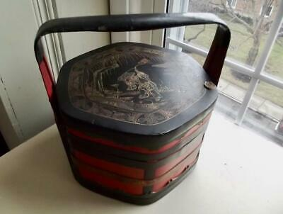 Antique Chinese Wedding Wood Basket Carved Lacquer Painted Man Lotus Flower